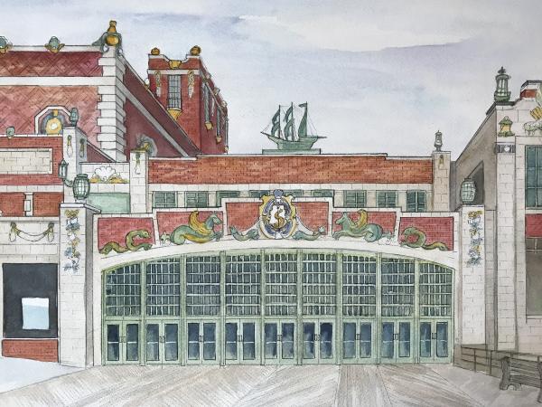 watercolor of wedding venue Asbury convention center