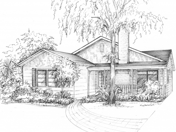 Your home sketched in ink