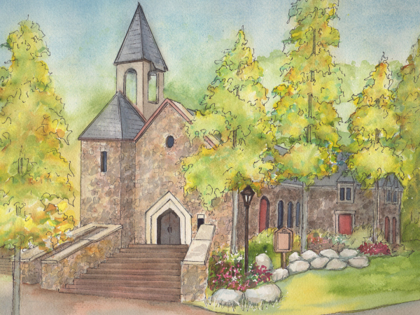 Watercolor wedding venue portrait Beaver Creek