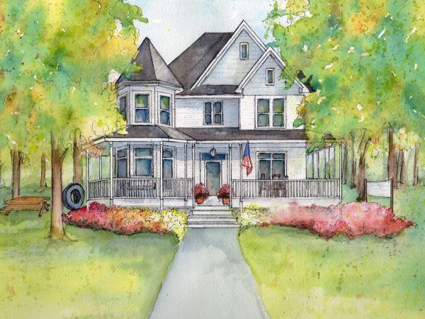 House portrait in Watercolor