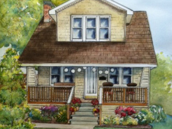 house painted in watercolor
