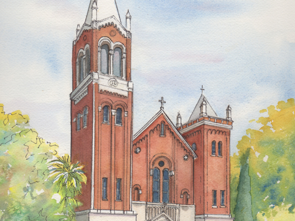 Watercolor Wedding Venue Painting