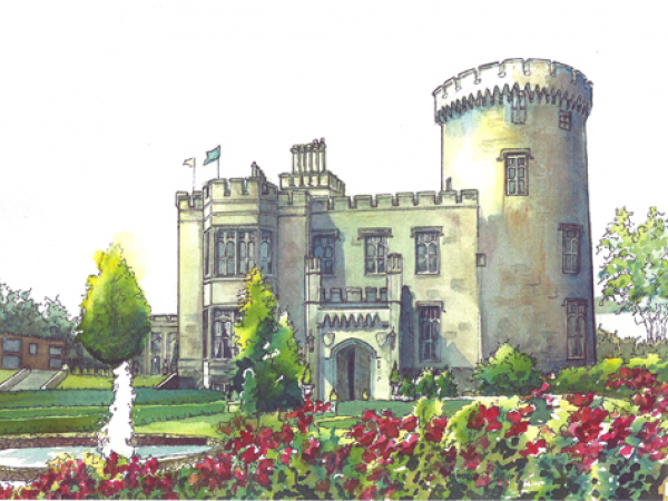 Watercolor Wedding Venue Portrait Castle