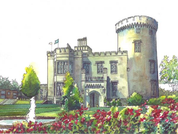 Watercolor Wedding Venue Portrait Castle