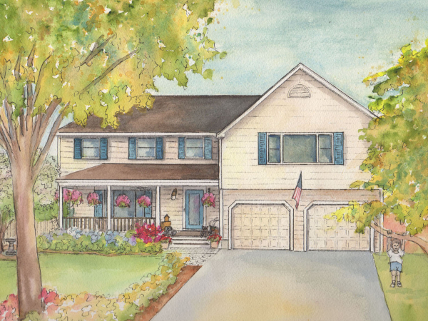 Watercolor painting of your home