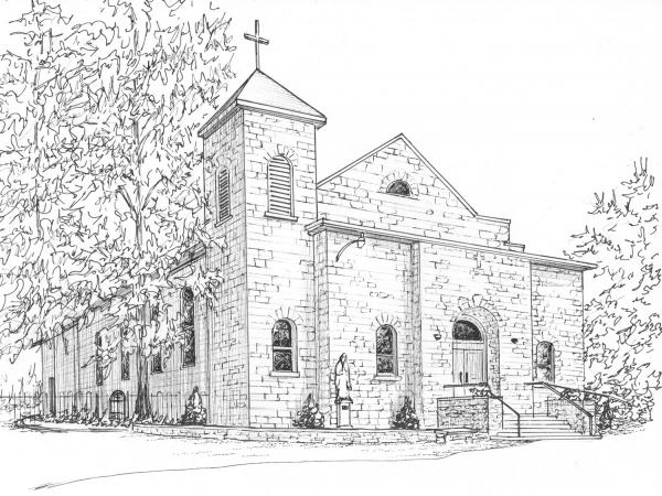 "Ink Church Portrait 8""x 10"""