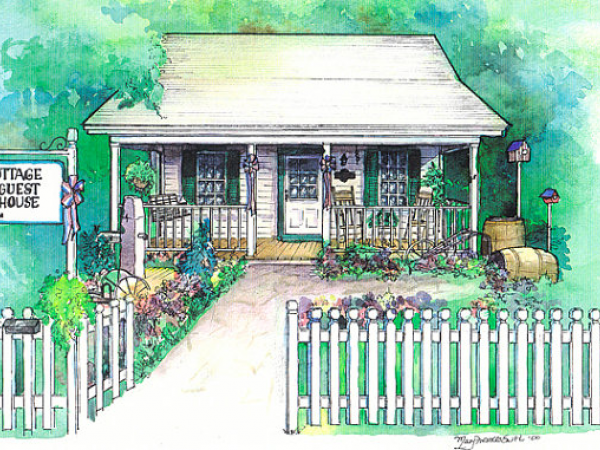 Watercolor cottage painting