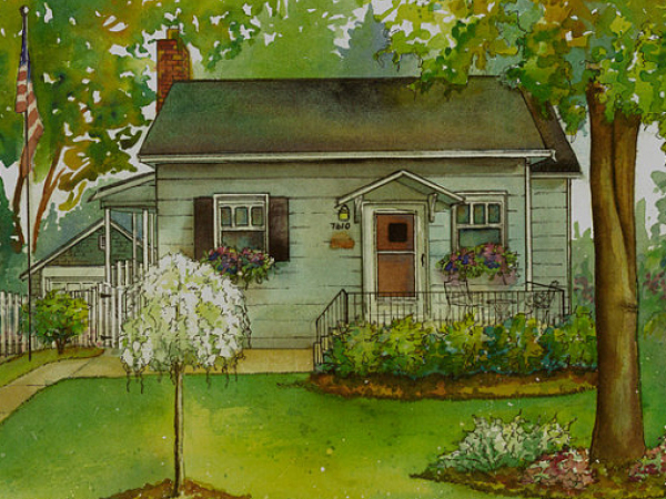 Home painted in watercolor