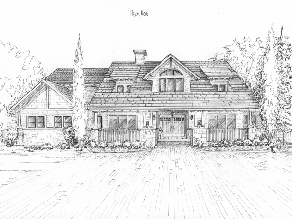 Sketch of house in black ink