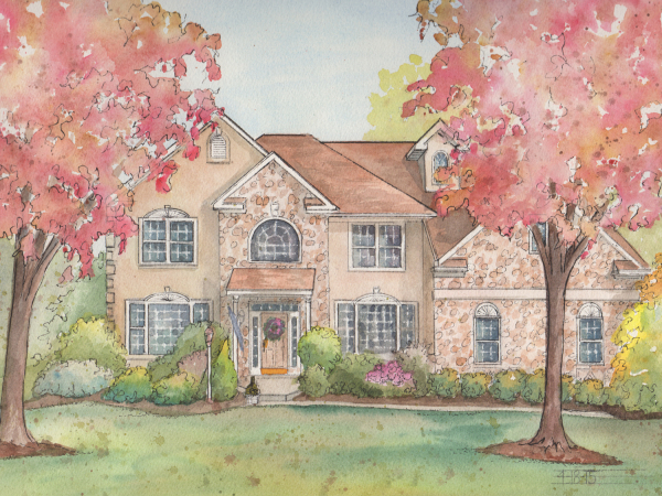 Commissioned watercolor home portrait