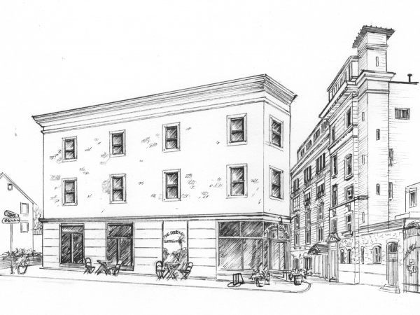 drawing in ink of building or business