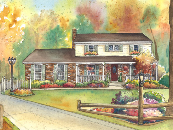 commissioned watercolor house sketch