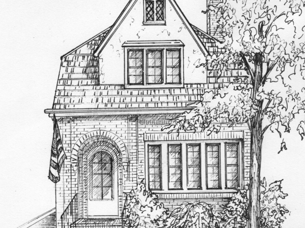 Commissioned ink sketch of your house