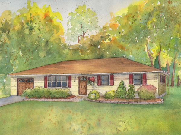 Your home painted in watercolor
