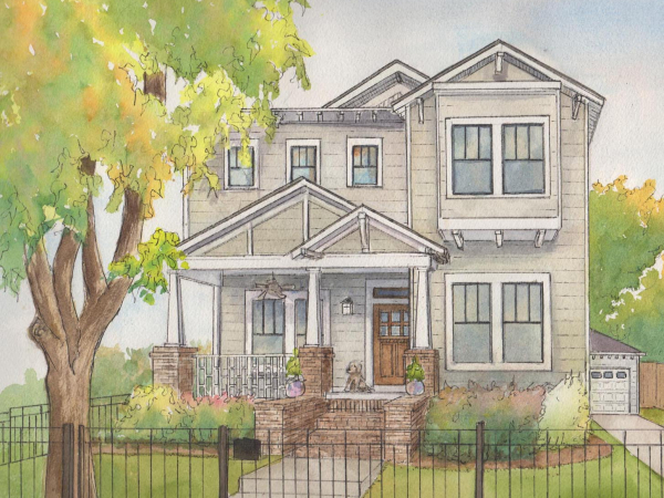 Commissioned home portrait in watercolor