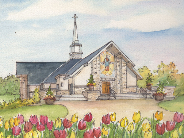 Portrait of Church in Watercolor