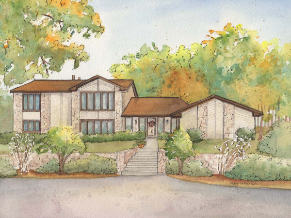 "Watercolor house sketch 11""x 14"""