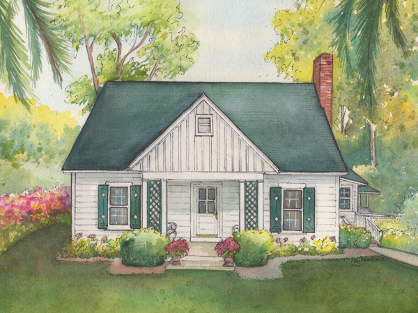 Custom Watercolor Home Portrait Commissioned Painting Of