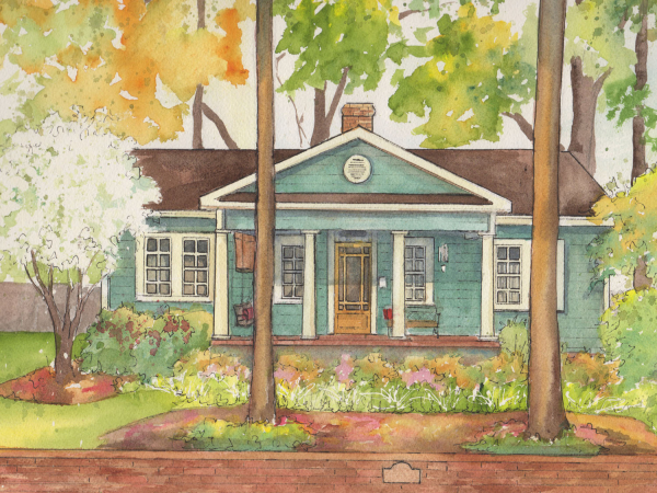 Watercolor and ink painting of your home
