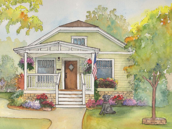 "Custom watercolor house portrait      11""x 14"""