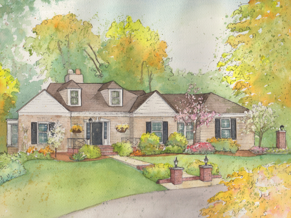 Painted Sketch of House