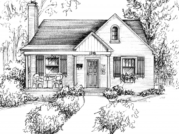 Home sketched in ink