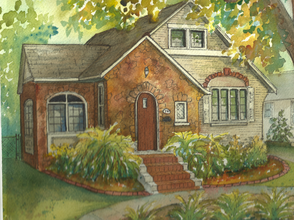 commissioned painting of home