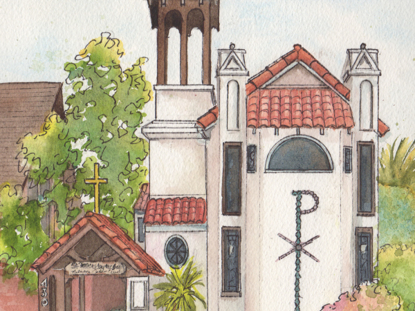 St. Francis Church Portrait in watercolor