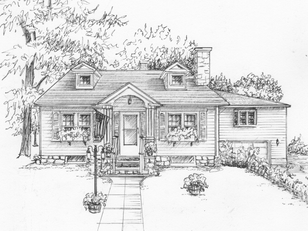 House illustration in ink