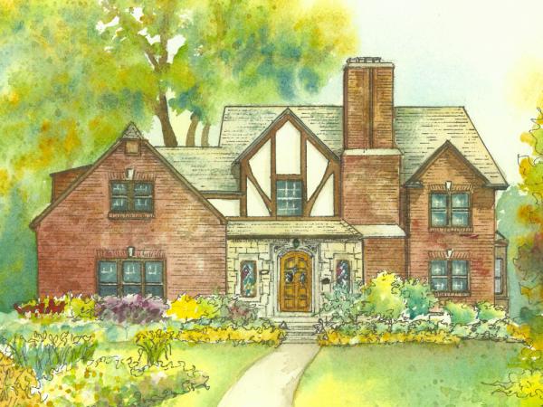 watercolor house portrait