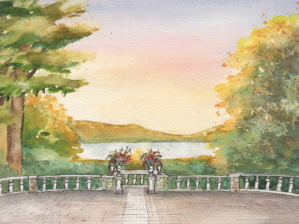 Watercolor painting of your wedding venue