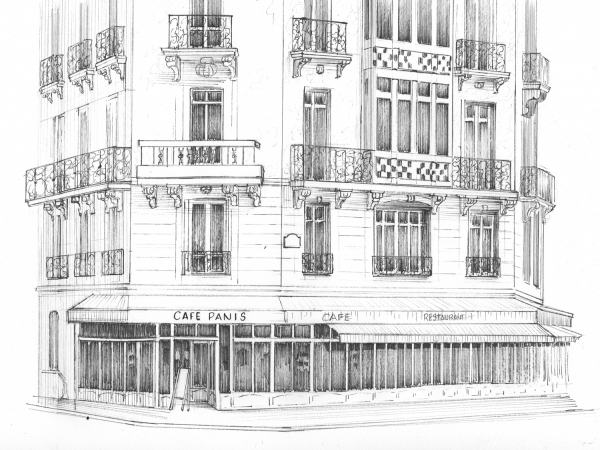 Building drawn in ink
