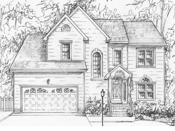 Drawing of my house in ink