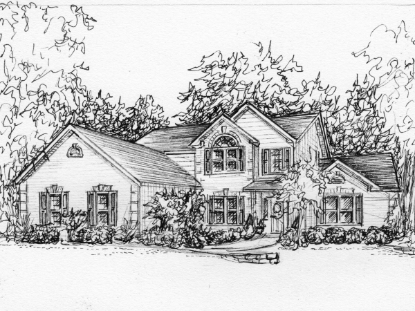 Portrait of my house in ink